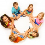 kids in circle, small royalty free